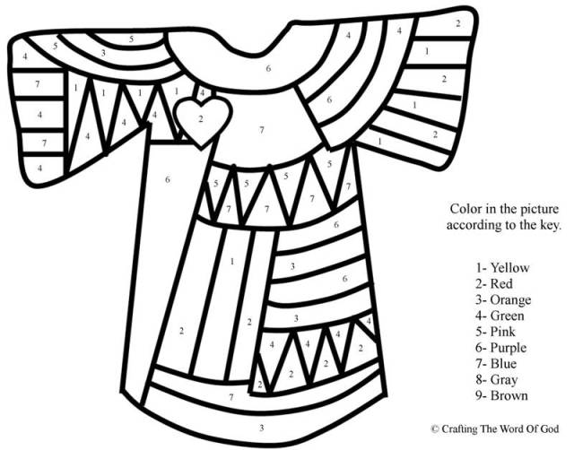 Josephs Coat Of Many Colors Color By Number Crafting The Word Of God