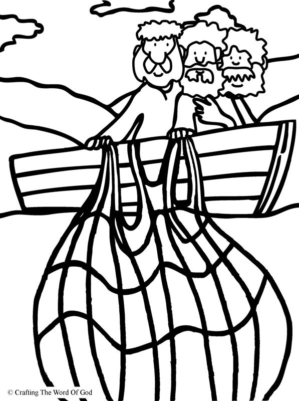 Miraculous Catch Of Fish Coloring Page  Crafting The Word Of God