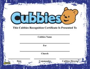 Cubbies Recognition Certificate