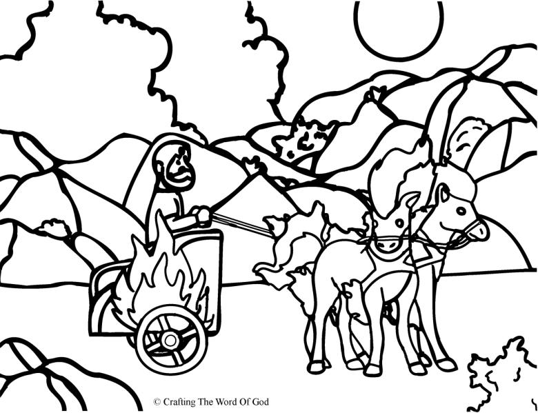 elijah taken up to heaven coloring page - Elijah Bible Story Coloring Pages