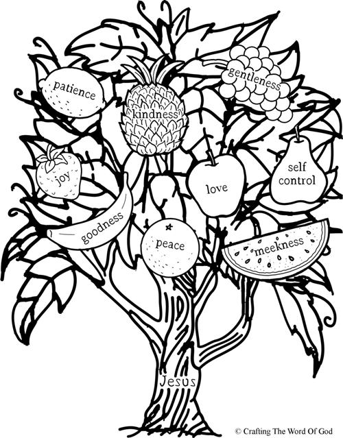 Fruit Of The Spirit (Jesus Is The Vine)- Coloring Page