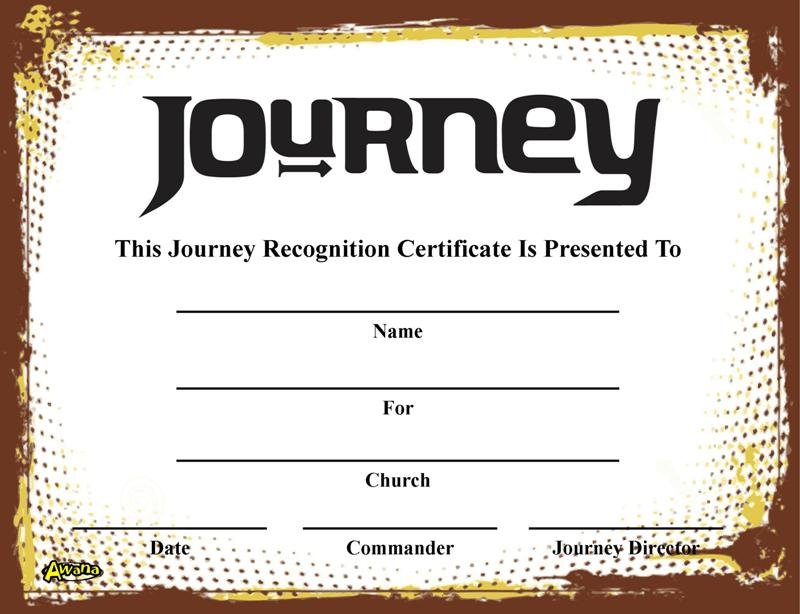 Awana recognition certificates crafting the word of god journey recognition certificate yelopaper Choice Image
