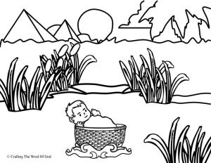 Moses In The River Coloring Page