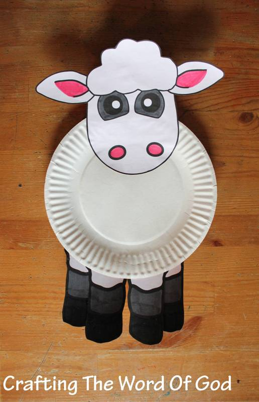 Paper plate sheep crafting the word of god for Cardboard sheep template