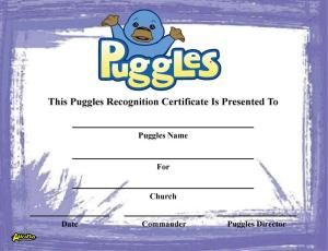 Puggles Recognition Certificate