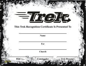 Trek Recognition Certificate