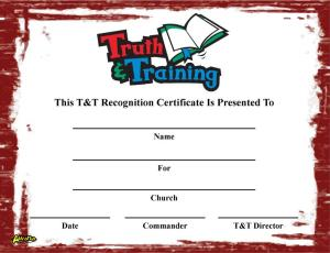 T&T Recognition Certificate