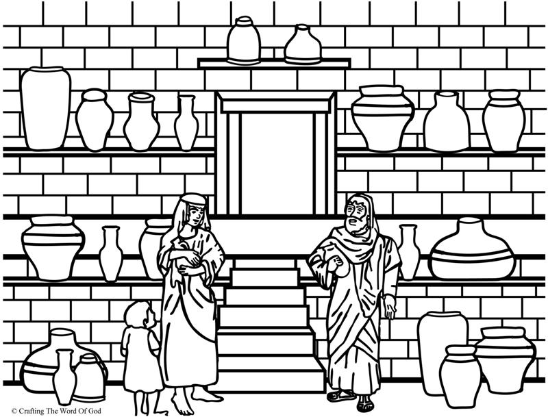 Elisha And The Jar Of Oil- Coloring Page « Crafting The Word Of God