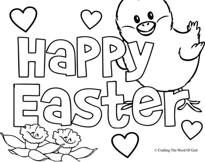 happy easter coloring page 2 - Easter Printable Coloring Pages