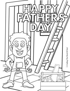 Fathers Day Dad With Tools Coloring Page