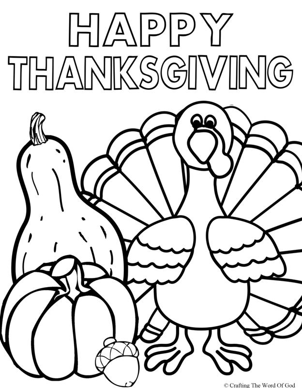 Happy thanksgiving 2 coloring page crafting the word of god for Free thanksgiving color pages