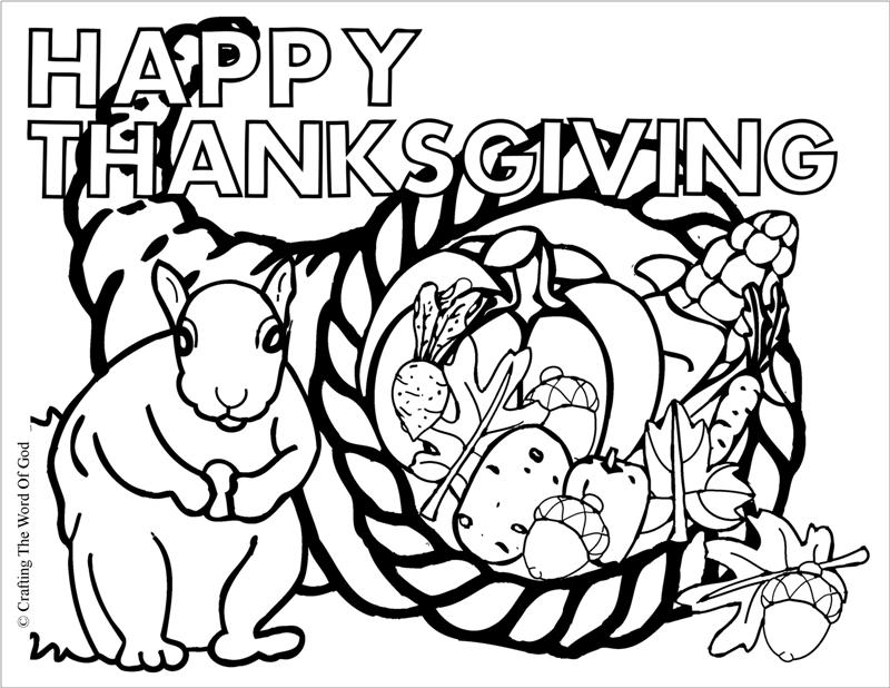 Thanksgiving Cornucopia Coloring Page