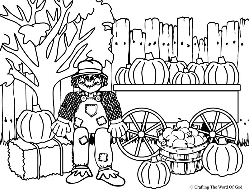 Thanksgiving scarecrow coloring page crafting the word for Printable scarecrow coloring pages