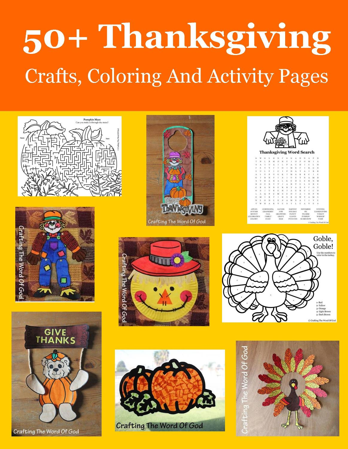 50 Thanksgiving Crafts Coloring And Activity Sheets