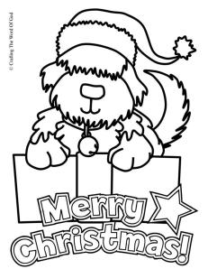 Christmas Puppy Coloring Page