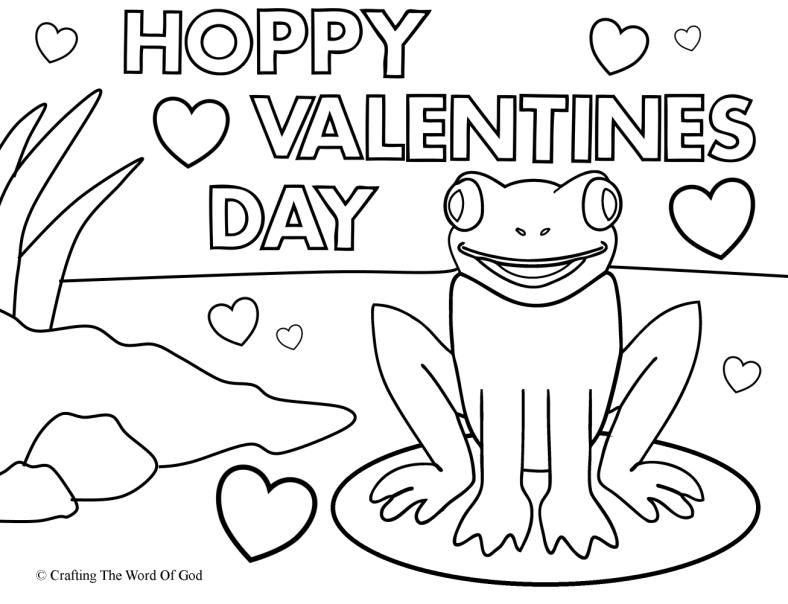 Hoppy valentines day coloring page crafting the word of god for Valentines days coloring pages