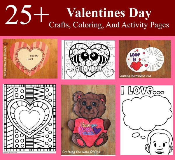 25 Valentines Day Crafts Coloring And Activity Sheets
