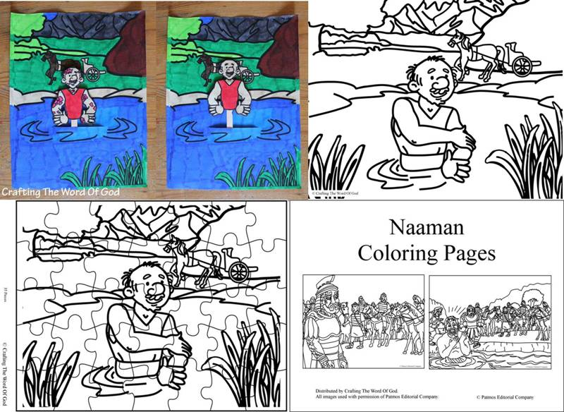 coloring pages naaman being healed - everest bible crafts crafting the word of god