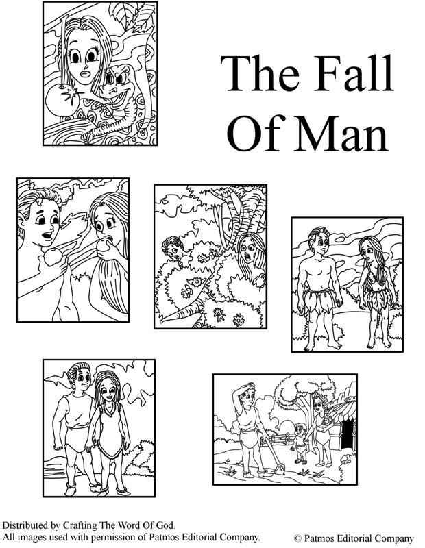 Fall of man crafting the word of god for Coloring pages adam and eve