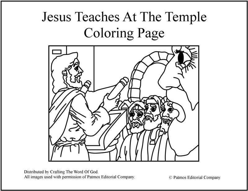 Jesus in the temple coloring pages ~ Jesus Teaches At The Temple- Coloring Page « Crafting The ...