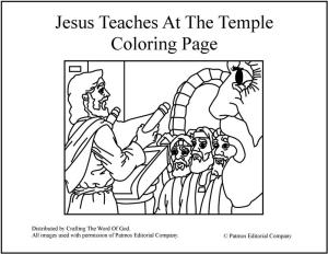 Jesus Teaches At The Temple Coloring Page