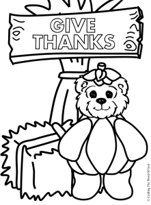 Give Thanks Bear Coloring Page