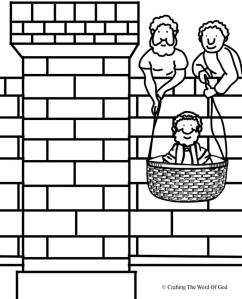 Paul Lowered In A Basket Coloring Page