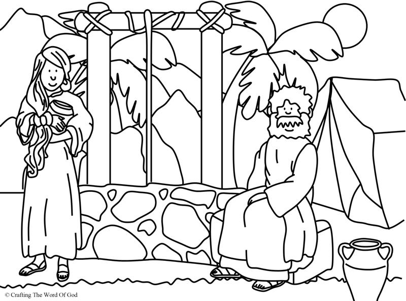 woman at the well coloring page crafting the word of god Rebekah and Isaac for Preschoolers Isaac Marries Rebekah Coloring Pages