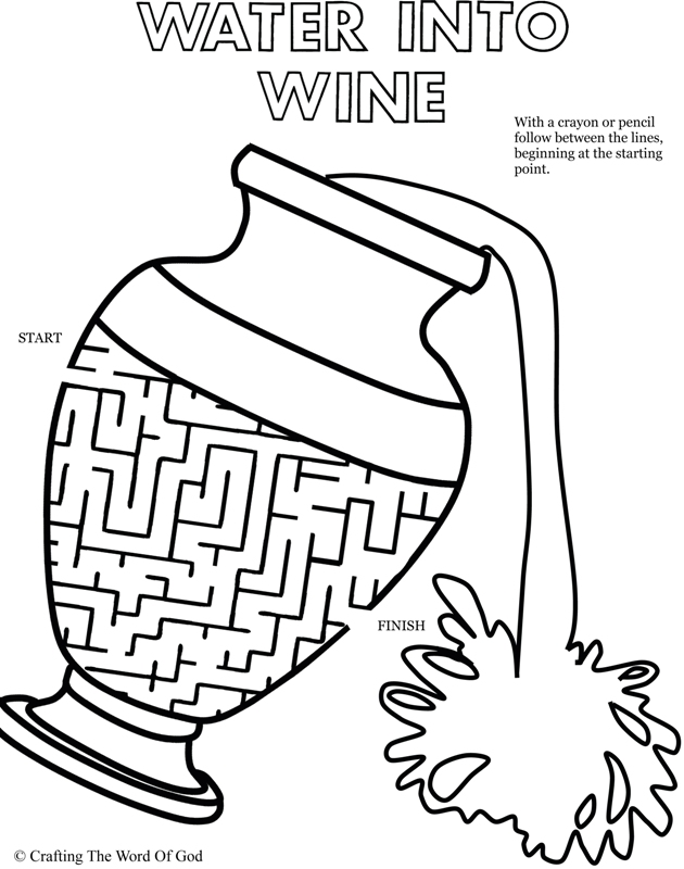 Coloring Pages For Jesus Turning Water Into Wine : Water to wine puzzle activity sheet « crafting the word