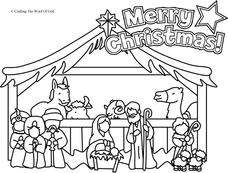 Nativity coloring page coloring page crafting the word for Coloring pages baby jesus in manger