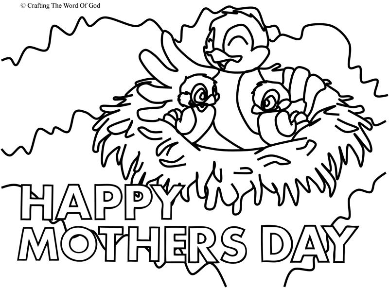 Mothers Day Mama Bird Coloring Page Crafting The Word