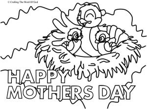 Mothers Day Mama Bird Coloring Page