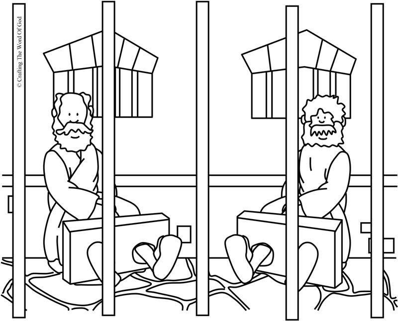 paul and silas coloring pages print - paul and silas in prison coloring page crafting the